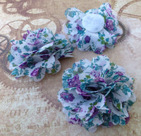 Fabric Flower Embellishment Purple and Green Pack of 3