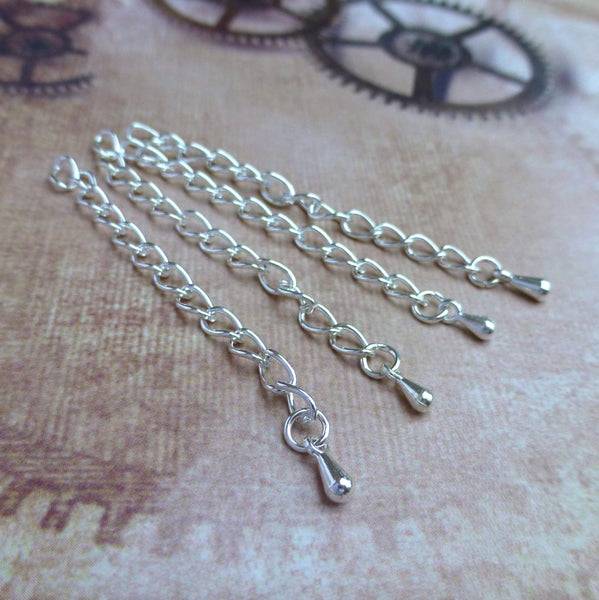 Silver 5.5 cm Extension Chain with Teardrop Pack of 20