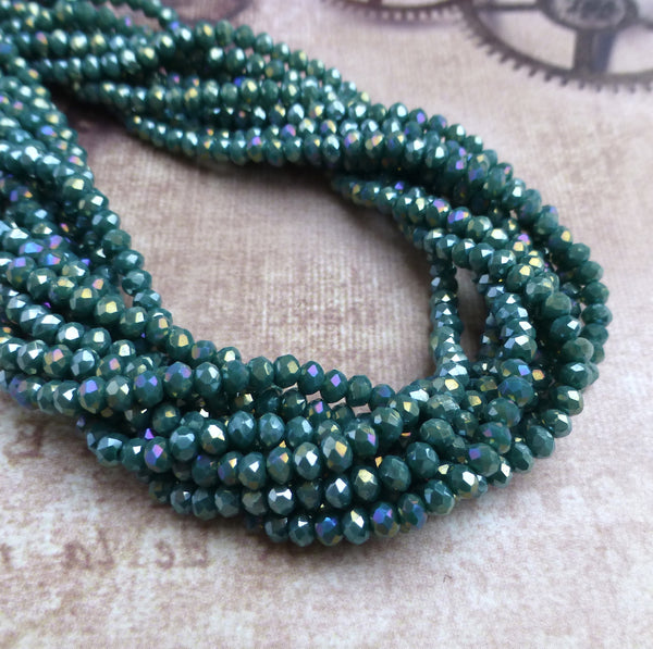 Sea Green Faceted Mini Rondelle Beads 150 Beads
