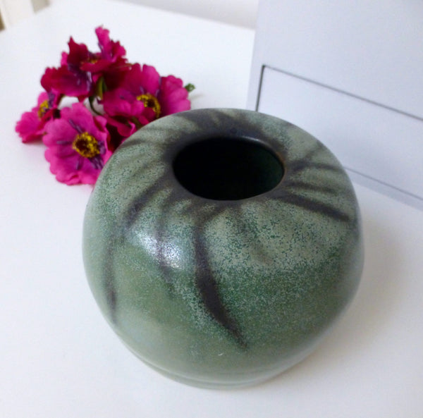 Green Stoneware Vase Hand Thrown Pottery