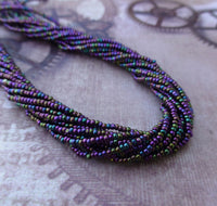 Purple Iris Glass Seed Beads Charlotte 6 Strands