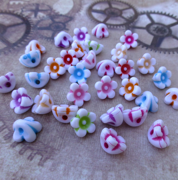 Acrylic Flower Beads Mix Colour Pack of 100