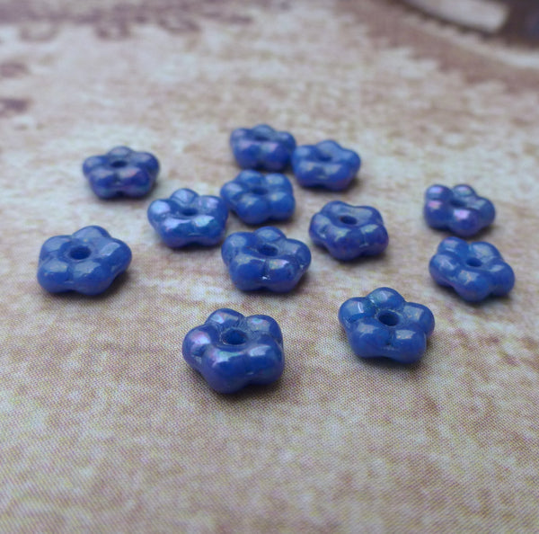 Blue Nebula Opaque Forget Me Not Flower Beads 120 Beads