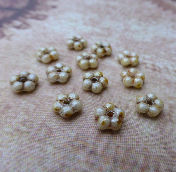 Honey Drizzle Forget Me Not Flower Beads 120 Beads