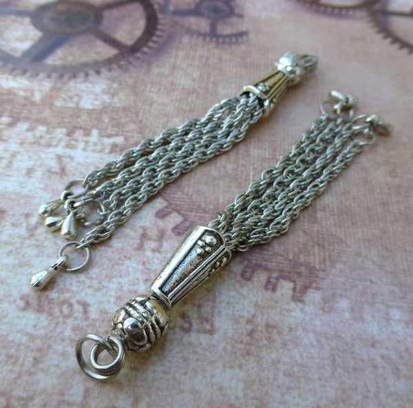 Antique Silver Chain Tassels 002 Pack of 4