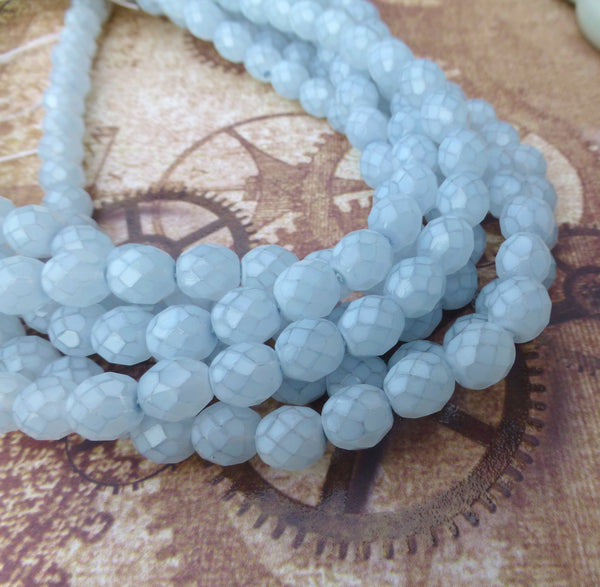 8 mm Faceted Glass Beads Opal Light Blue Strand of 50