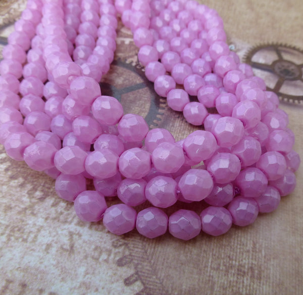 8 mm Faceted Glass Beads Opal Lilac Strand of 50
