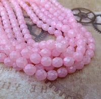 8 mm Faceted Glass Beads Opal Pink Strand of 50
