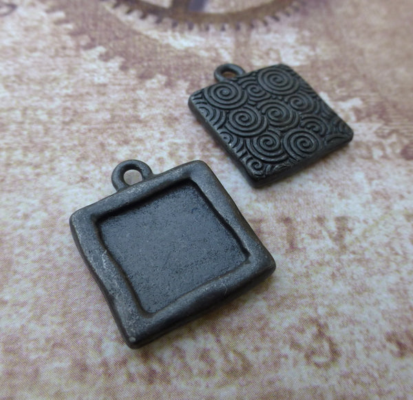 TierraCast Photo Charms Simple Square Setting in Black Pack of 4