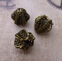 Antiqued Brass Art Nouveau Filigree Bead Caps Pack of 2