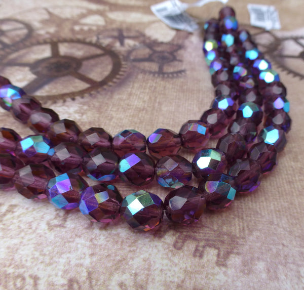 Fire Polished 8 mm Beads Dark Amethyst AB Strand of 19