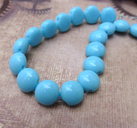 Two Hole Candy Beads Light Blue Strand of 20 Glass Beads