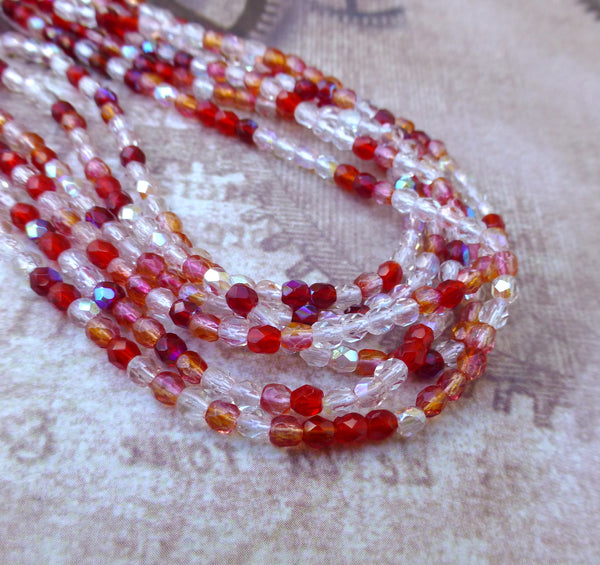Fire Polished 3mm Beads Strawberry Fields Strand of 100