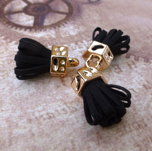 Black Suede Tassel Pendants Pack of 5