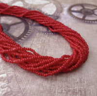Dark Red Glass Seed Beads Charlotte 6 Strands
