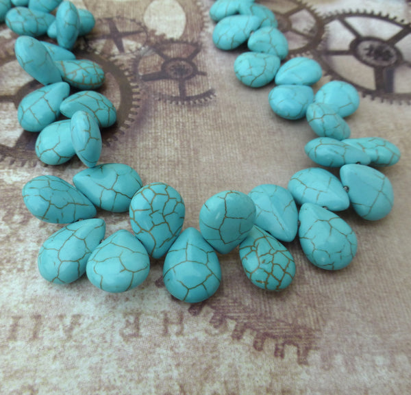 Top-drilled Turquoise Teardrops Beads Strand of 55