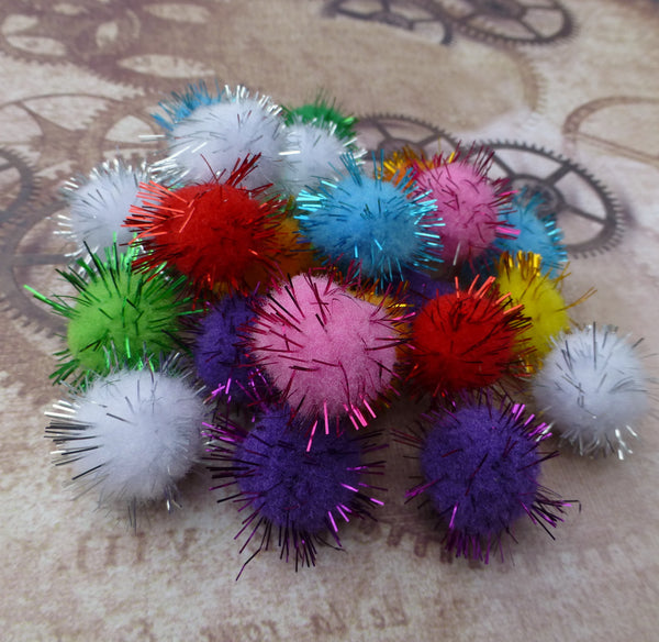 Mix Colour Pom Pom with Metallic Thread Pack of 100