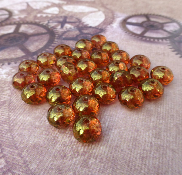 Czech Glass Pressed Beads Faceted Rondelles with Gold Luster Pack of 20