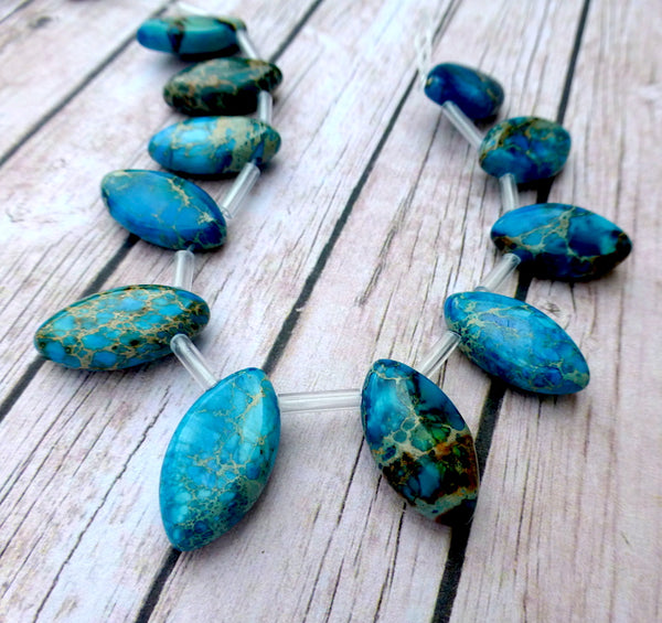 Pack of 10 Imperial Jasper Marquise Beads