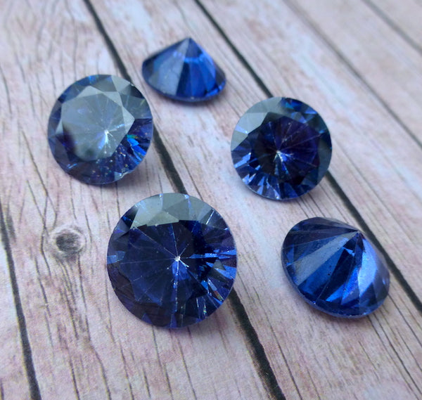 14 mm Blue Rivoli Faceted Cut Glass Pack of 2