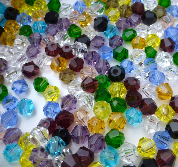 Glass Bicone 4mm Beads Colour Mix 400 Pack of 100