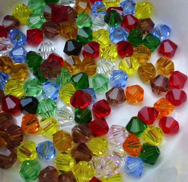 Glass Bicone 6mm Beads Colour Mix 444 Pack of 100