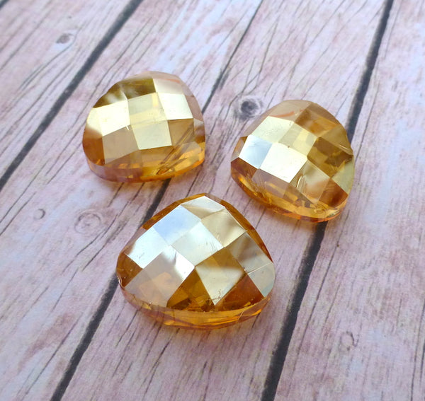 Glass Faceted Briolette Beads Topaz Pack of 4
