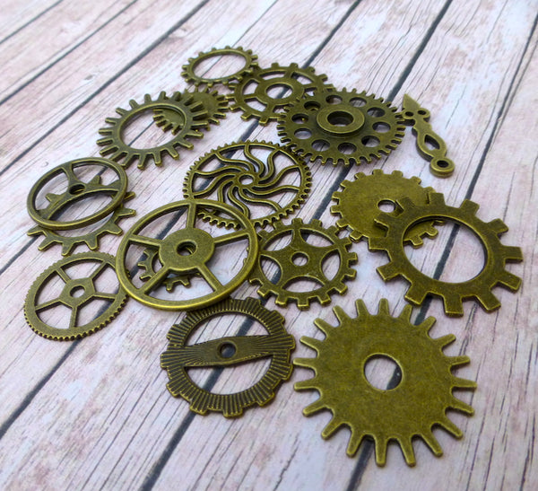 Steampunk Gear Charms Pack of 17