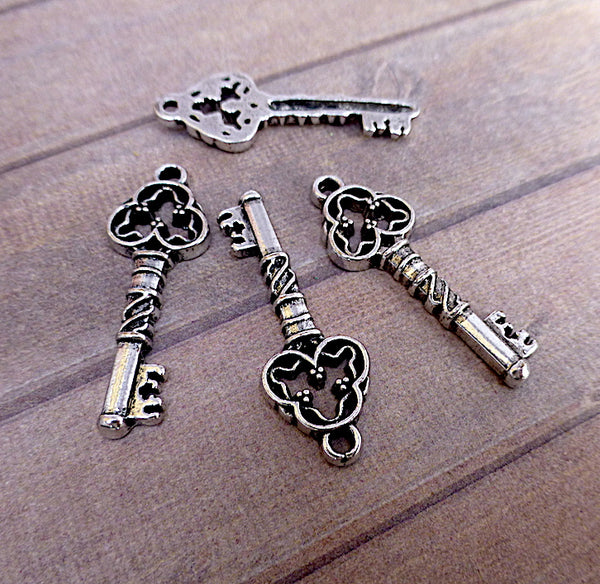 Antique Silver Charm Key 31mm Pack of 15