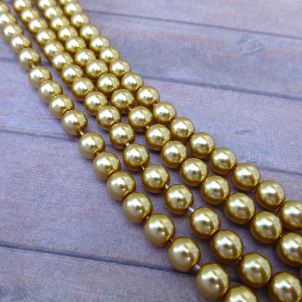 Gold 6mm Round Czech Glass Pearls Strand of 75 beads