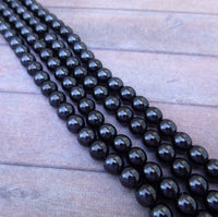 Black 6mm Round Glass Pearls Czech Beads Strand of 75 beads