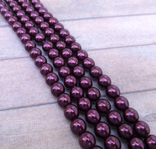 Burgundy 6mm Round Czech Glass Pearls Strand of 75 beads