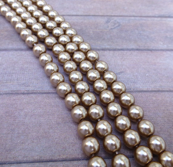 Cocoa 6mm Round Czech Glass Pearls Strand of 75 beads