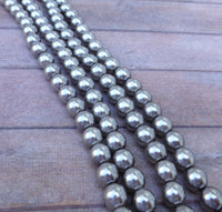 Silver 6mm Round Czech Glass Pearls Strand of 75 beads