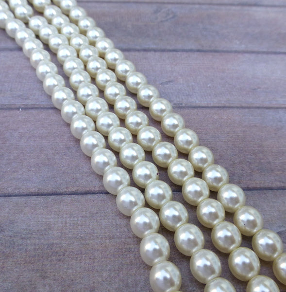 White 6mm Round Czech Glass Pearls Strand of 75 beads