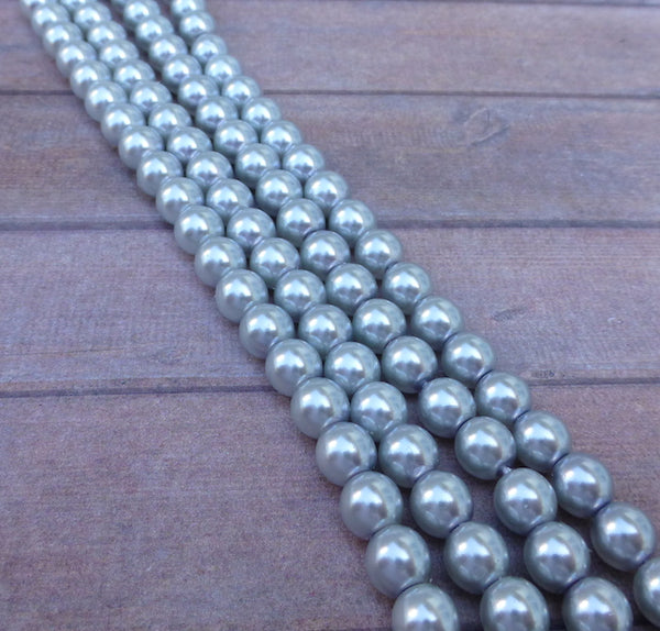 Tanzanite 6mm Round Czech Glass Pearls Strand of 75 beads