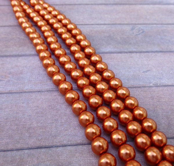 Copper 6mm Round Czech Glass Pearls Strand of 75 beads