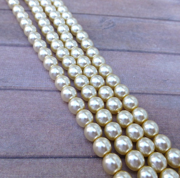 Cream 6mm Round Czech Glass Pearls Strand of 75 beads