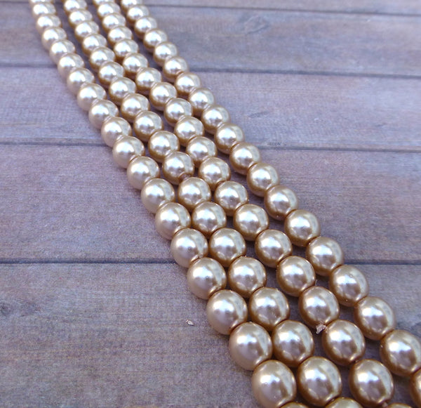 Mauve 6mm Round Czech Glass Pearls Strand of 75 beads