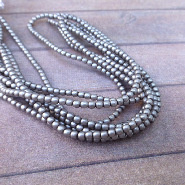 Strand of 150 Faux Pearl Beads Mini Glass Pearls Matt Silver 2mm