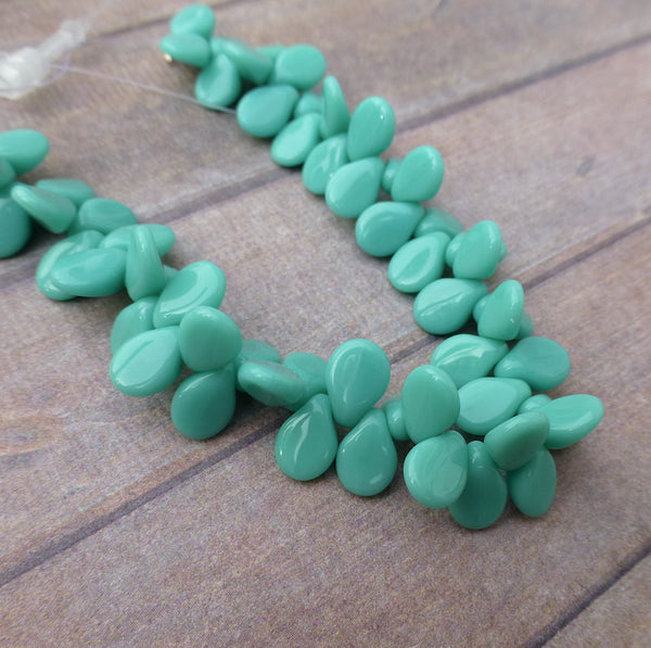 Opaque Turquoise Czech Glass Pip Beads Strand of 60