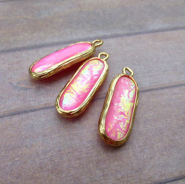 Resin Aurora Borealis Oval Charms Hot Pink Pack of 5