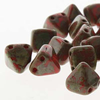 Pyramid Stud 6mm Two Hole Beads Coral Picasso 25 Beads
