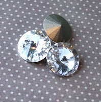 Clear Rivoli Faceted Glass Pointed Cabochons Pack of 2