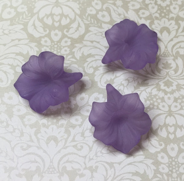 Purple Frosted Acrylic Flower Lucite Beads Pack of 10