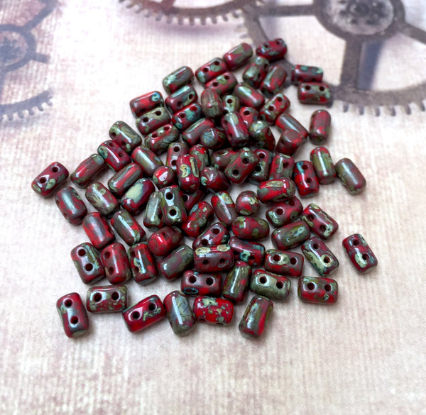 Opaque Coral Red Travertine Dark Rulla Beads 20 grams