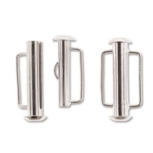 21.5mm Silver Plated Slide Bar Clasp Pack of 4