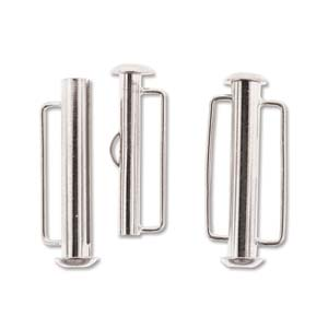 26.5mm Silver Plated Slide Bar Clasp Pack of 4