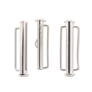 Silver Plated Slide Bar Clasp 31.5mm Pack of 4