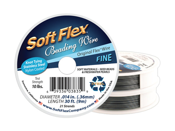 Soft Flex Satin Silver Fine Beading Wire 30 ft